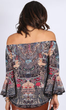 XW16056-3SS Off Shoulder Phoenix Boho Print Top (Pack)