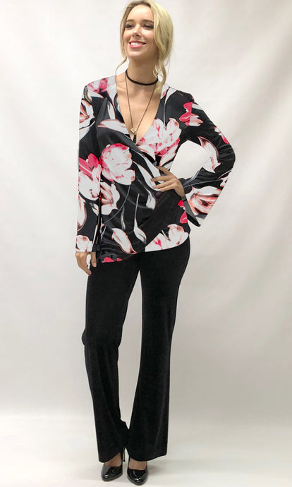 VS7395TB Floral Front Draped Wrap Top (Pack) New Arrival