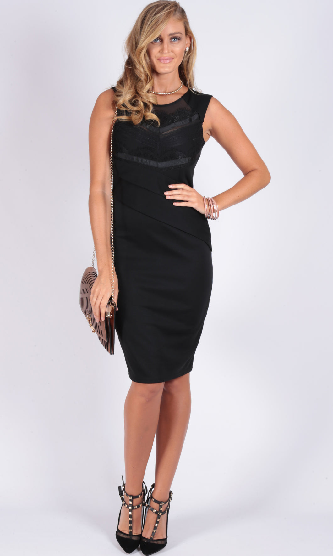 Lace Neckline Body Con Dress