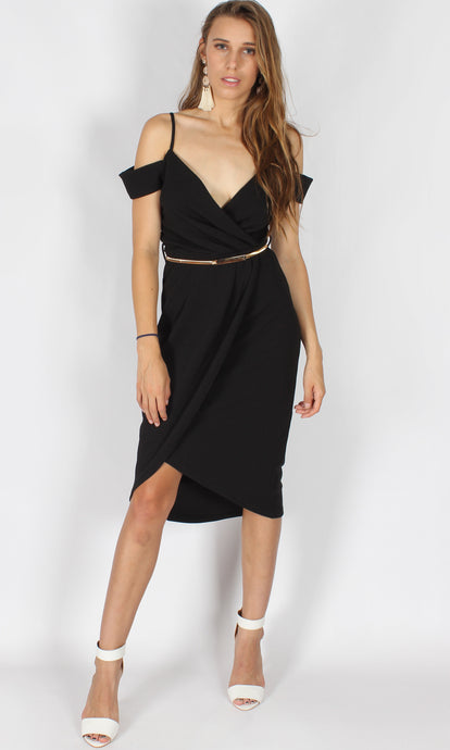 Black tulip midi dress