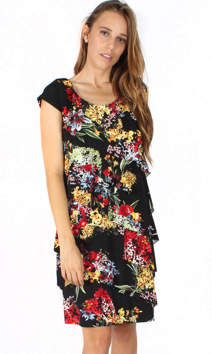 BS31616-203TB Black Floral Layered Asymmetric Dress (Pack)