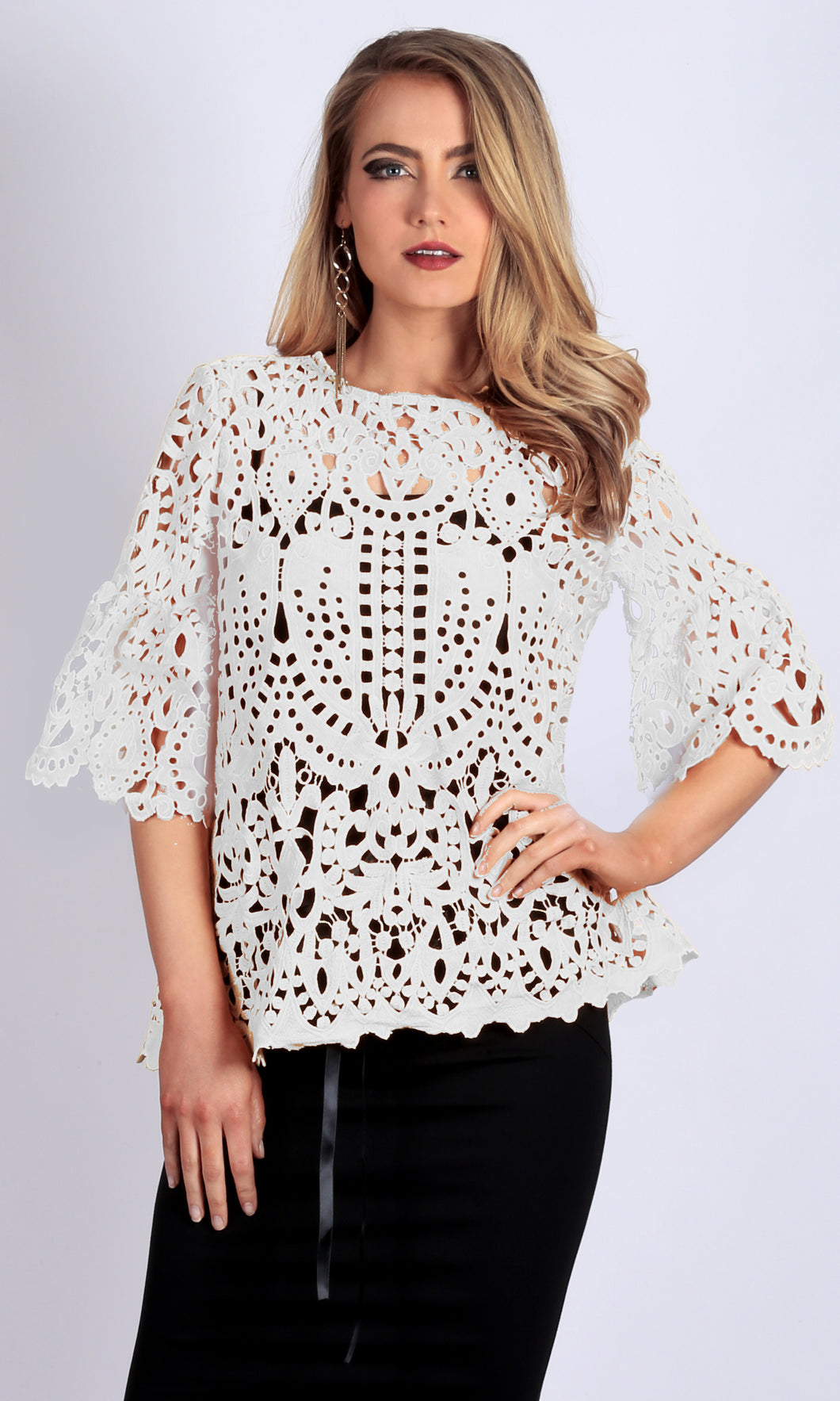 RV0832SS Elegant White Crochet Lace Top (Pack) On Sale