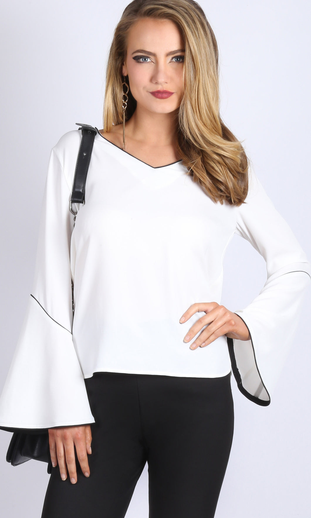 Contrast Bell Sleeve Top