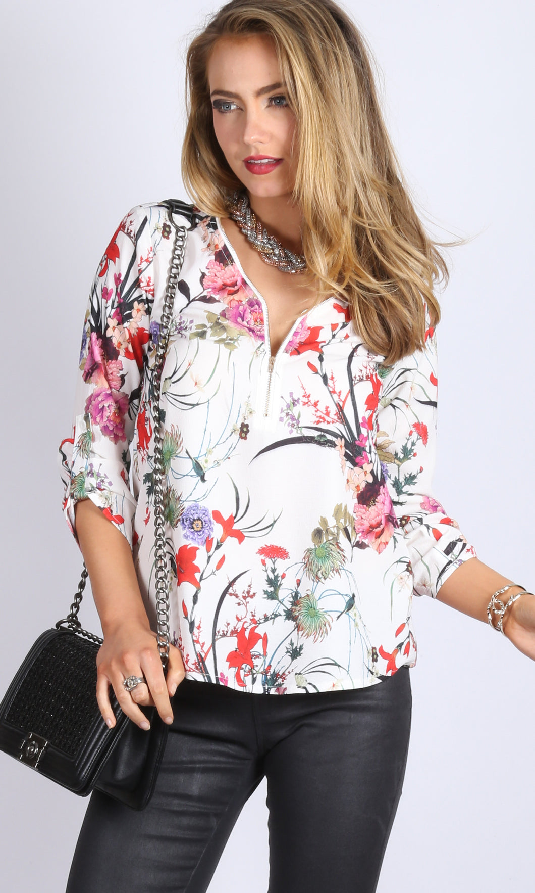 V Neck Printed Shirt with exposed zipper and turn up sleeves