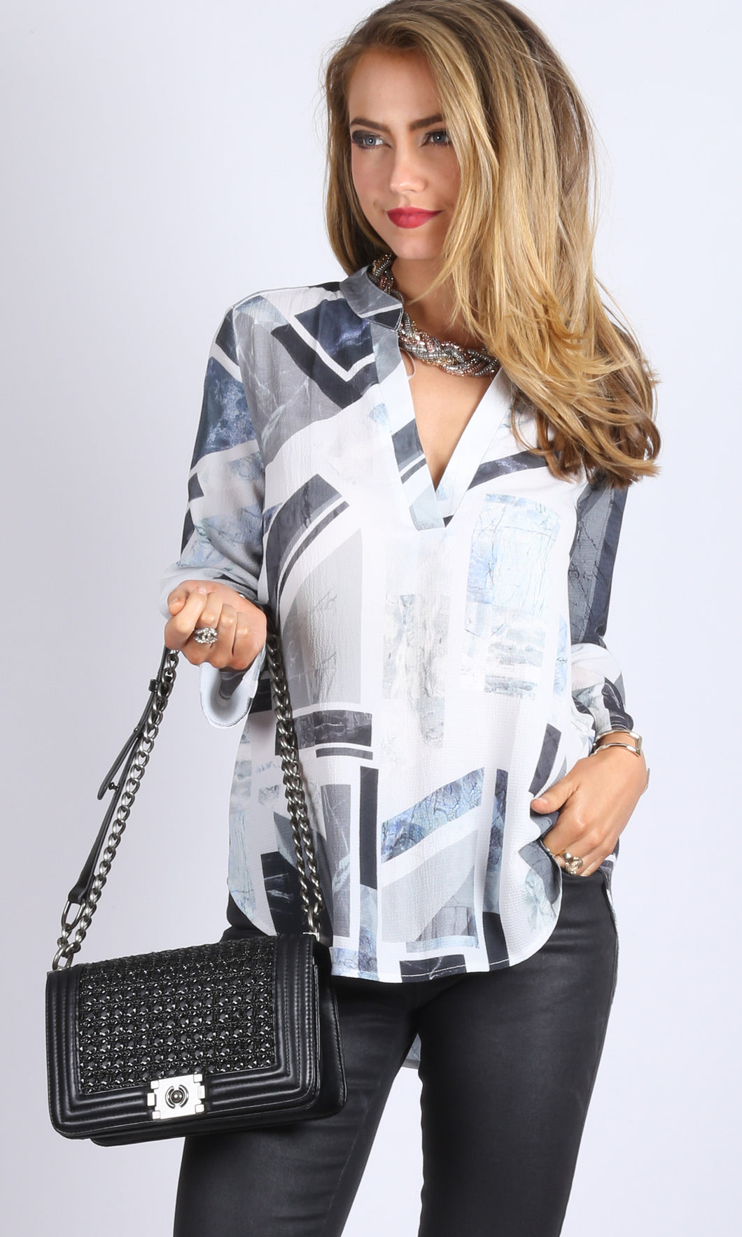 Classic Johnny Collar Crepe Printed Shirt