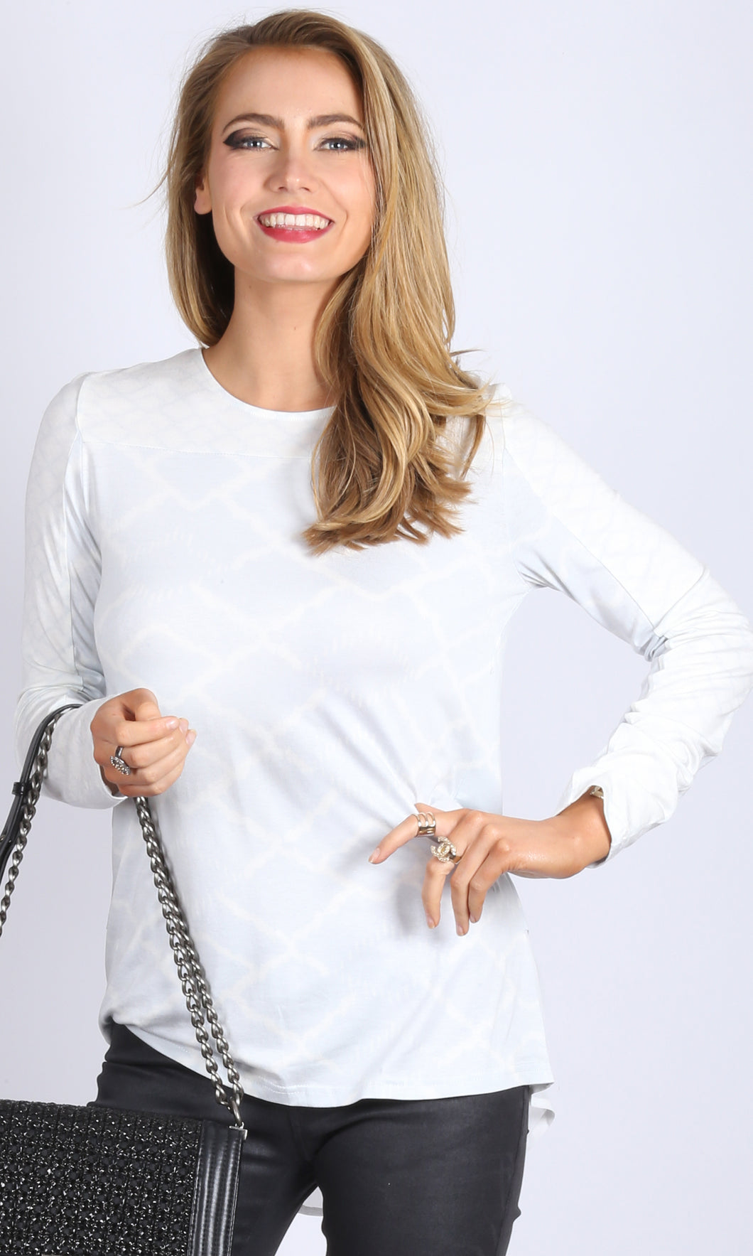 Wire Print Long Sleeve Top