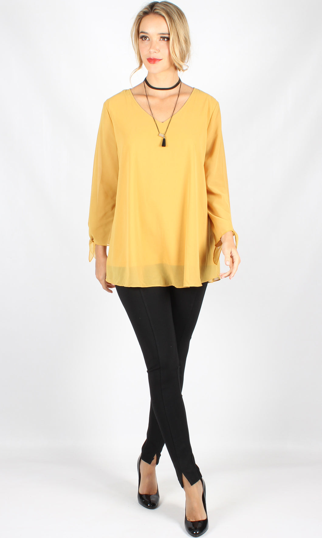 WW0050NC Yellow Loose Fit Long Tie Sleeve Top (Pack)