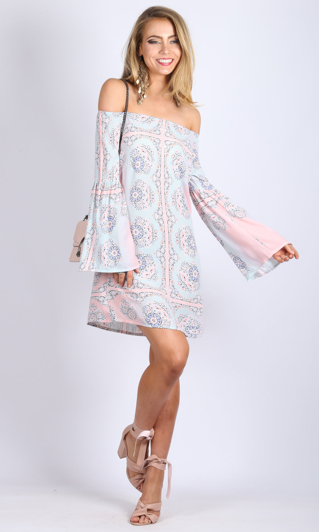Boho Soft Print Off the Shoulder Dress