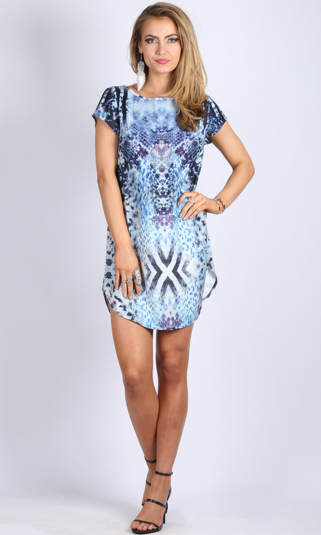 LV215-14SS Relaxed Printed Blue Mini Dress (Pack)