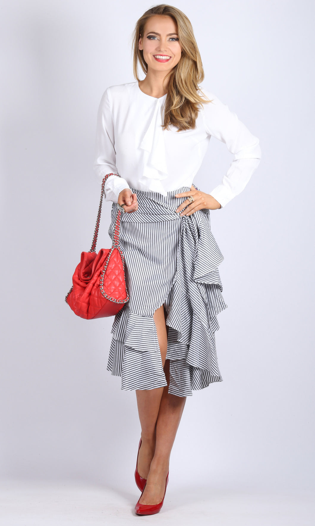 RV0915SS Pinstripe Ruffle Skirt (Pack) On Sale