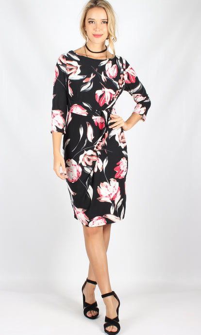 Floral Long Sleeve Body Con Dress