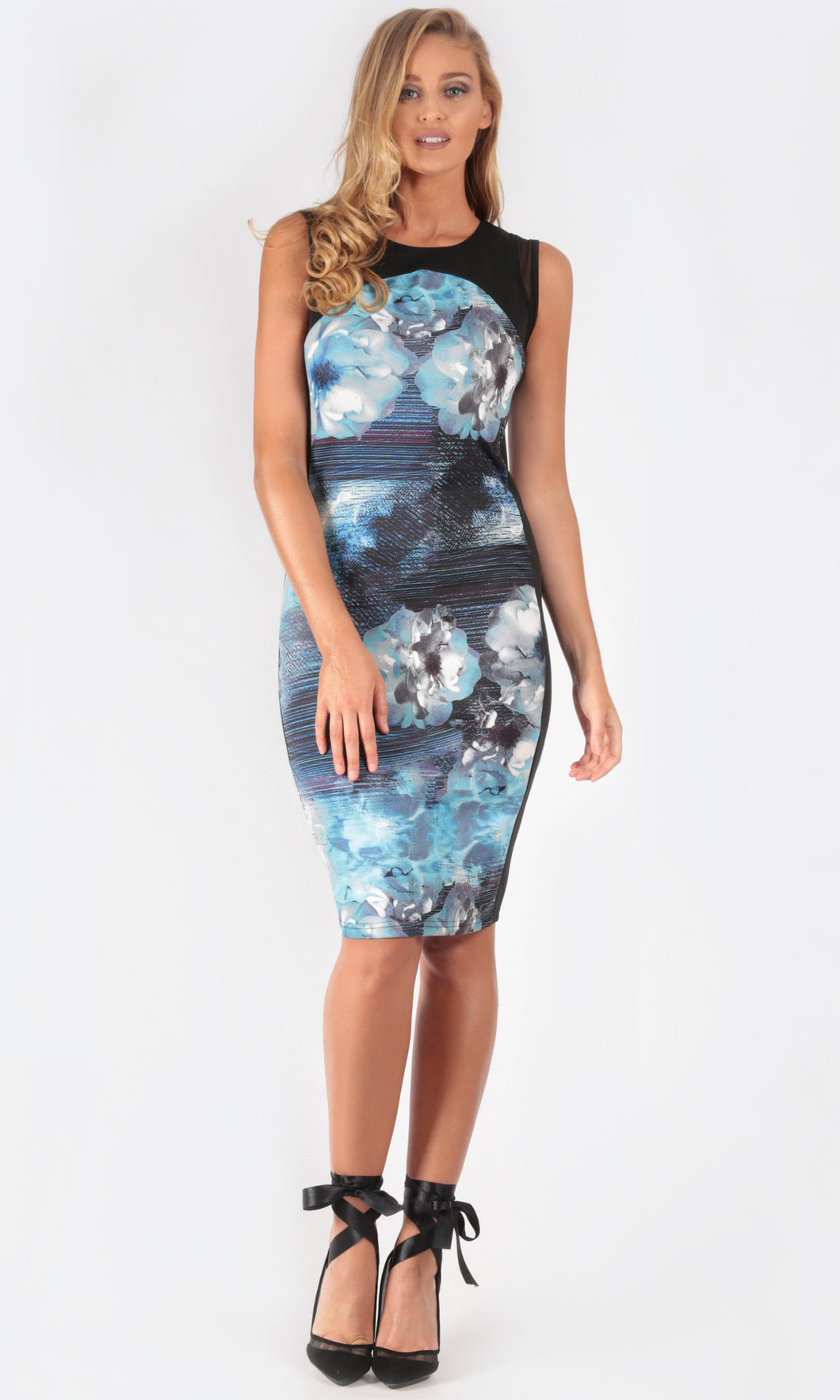 Printed, sleeveless, mid length fitted dress with mesh detail