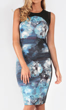 Printed, sleeveless, mid length fitted dress with mesh detail.