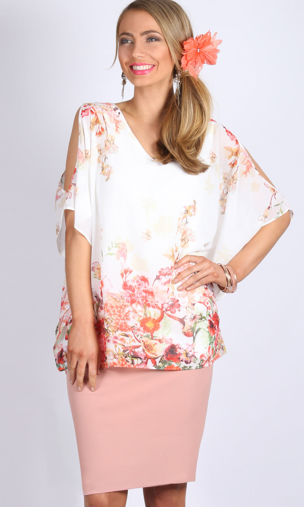 Cold Shoulder V Neck Floral Top