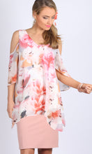 Soft Floral print Cold Shoulder V Neck Asymmetrical Top