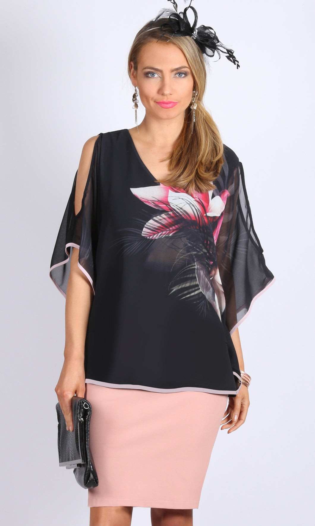 Sheer Chiffon Cold Shoulder Top with Contrast Trim