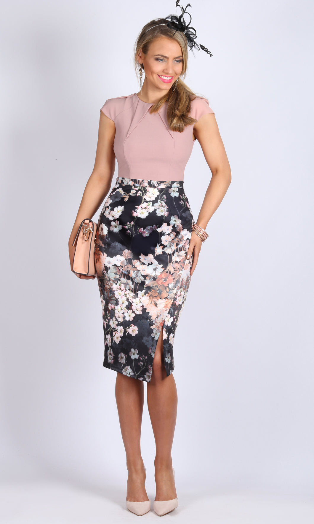 High Waisted Asymmetric Pencil Skirt