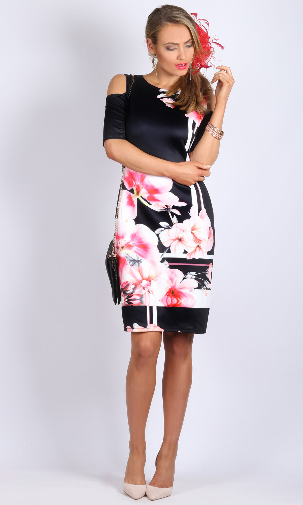 Floral Print Cold Shoulder Body Con Dress with Invisible Back Zip