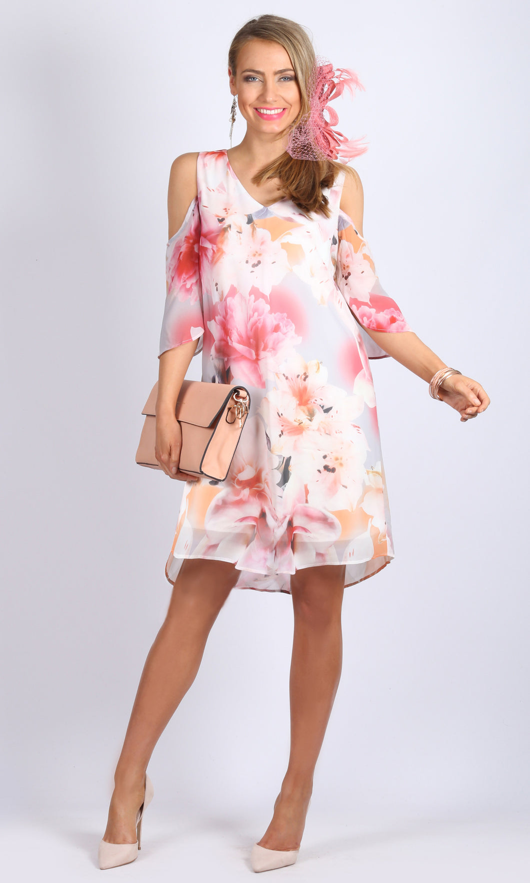 Soft Floral print Cold Shoulder V Neck Asymmetrical Dress