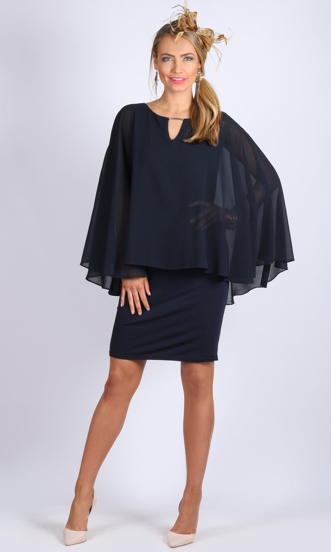 Chiffon Overlay Dress with Cut Out and Gold Accessory Neckline detail