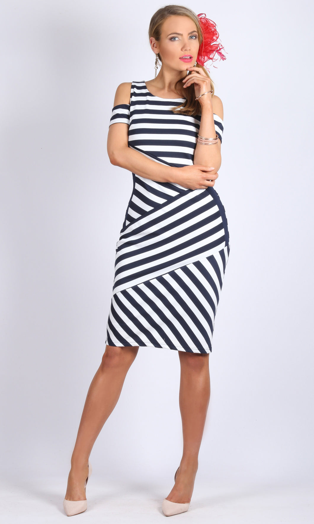 Bodycon cold shoulder dress with contrast paneled side & invisible back zip