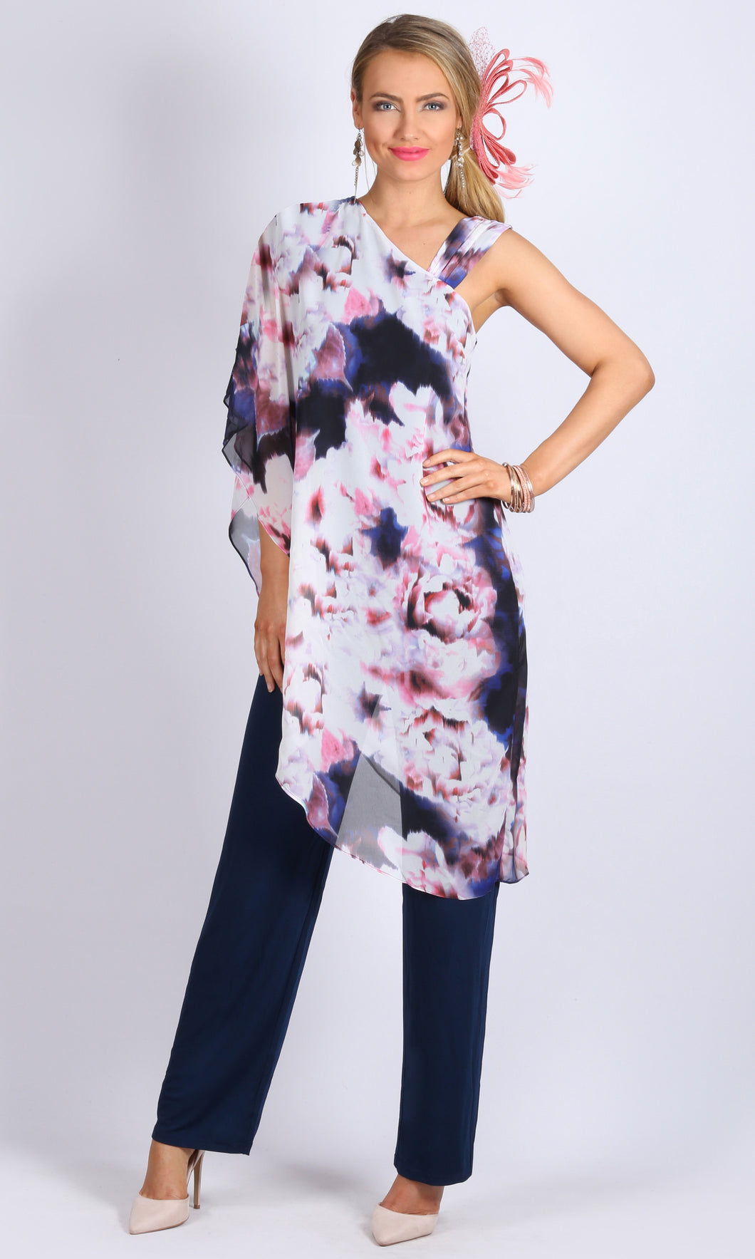 Floral Print Chiffon Overlay Jumpsuit