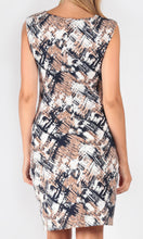 Shift style Abstract print dress with waist gather