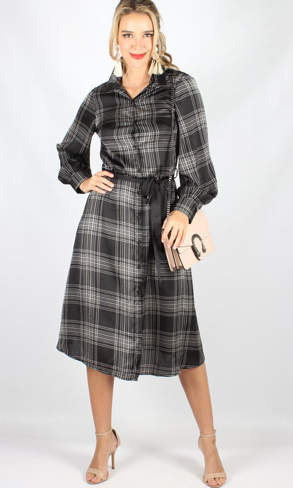 YW1913SS Long Sleeve Button Down Shirt Dress (Pack) On Sale