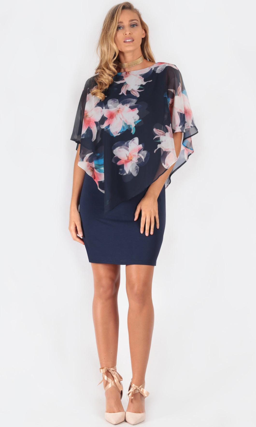 Blues and Pinks Floral Chiffon Overlay Dress