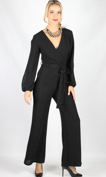 YW790-1SS Elegant Black Lurex Jumpsuit (Pack)