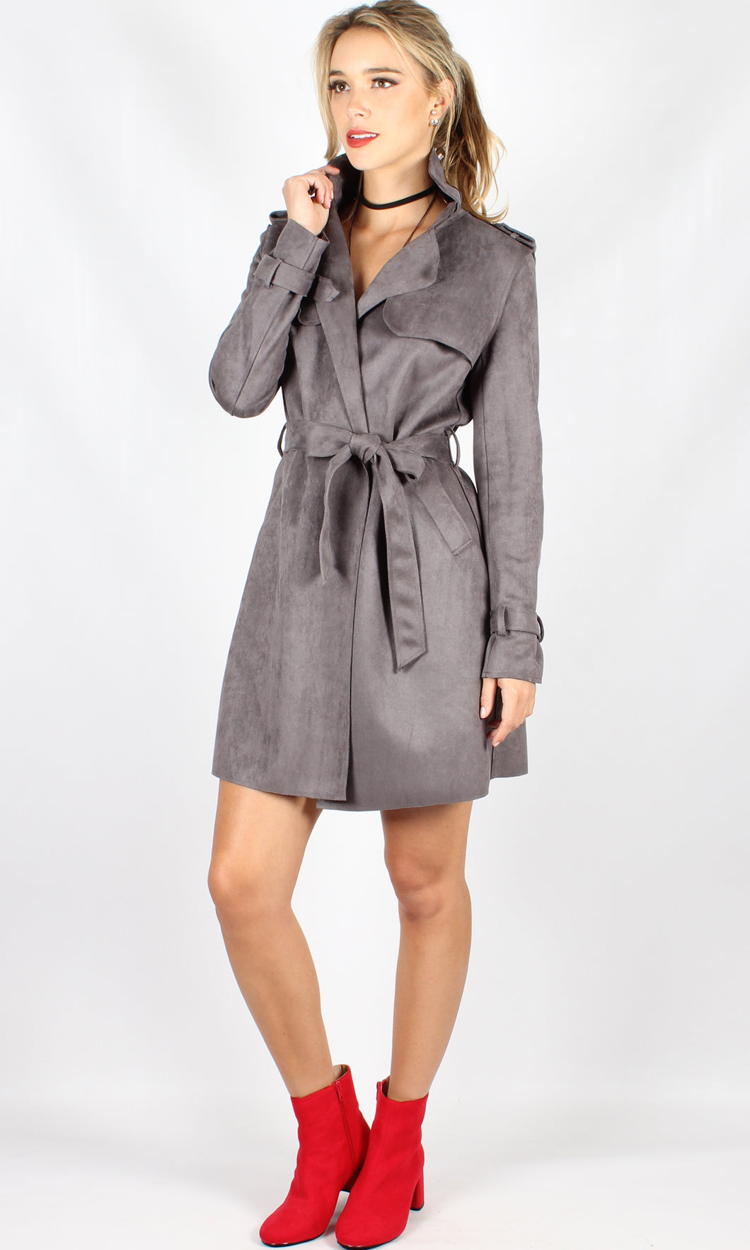 C251339SS Suede Wrap Trench Coat (Pack) On Sale