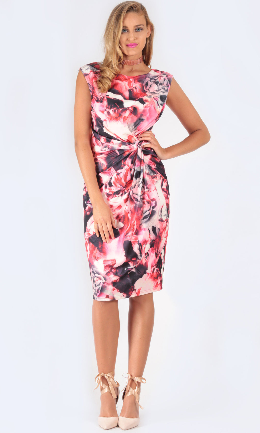 BW13584-10TB Red Floral Dress (Pack)