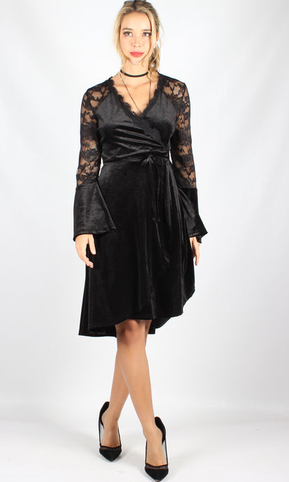 WW0122TB Velvet & Lace Wrap Dress (Pack) New Arrival
