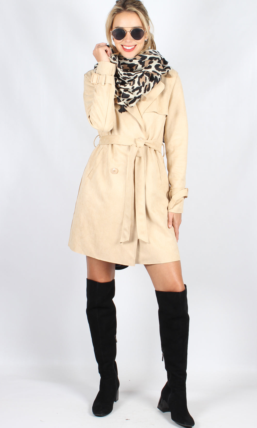 C251338SS Suede Double Breasted Trench Coat (Pack)
