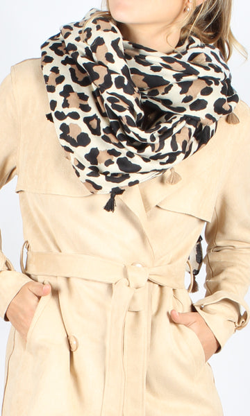 L12SS White/Coffee Leopard Scarf with Tassels (Pack) New Arrival