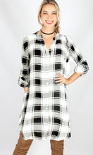 YW1796-1SS Checked Button Up Long Sleeve Dress (Pack)