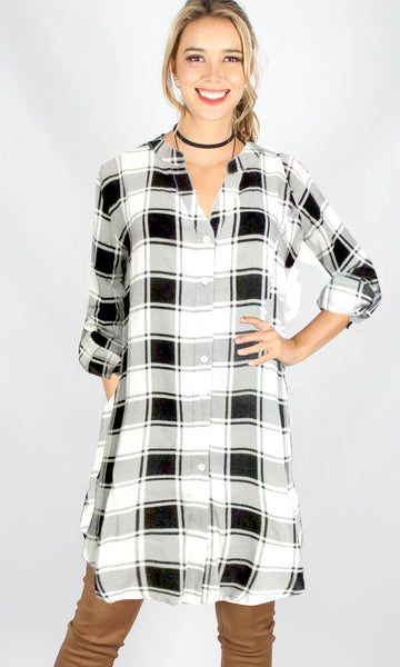 YW1796-1SS Checked Button Up Long Sleeve Dress (Pack) New Arrival