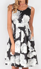 Printed Black & White Pleated A line Dress