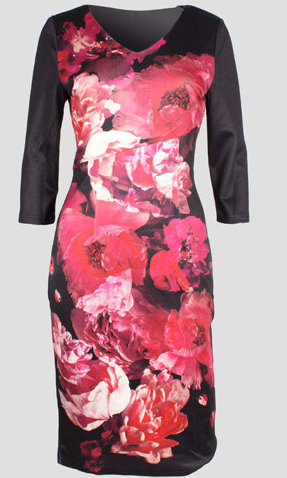 VS7388TB Floral Print Long Sleeve Dress (Pack) New Arrival
