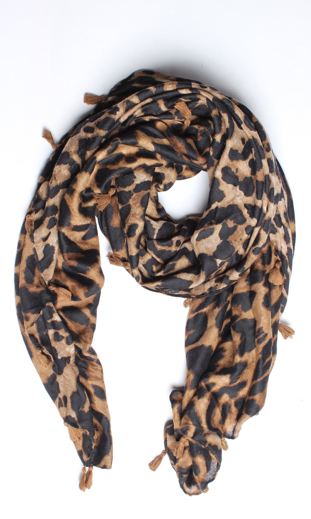 L11SS Black/Coffee Leopard Scarf with Tassels (Pack) New Arrival