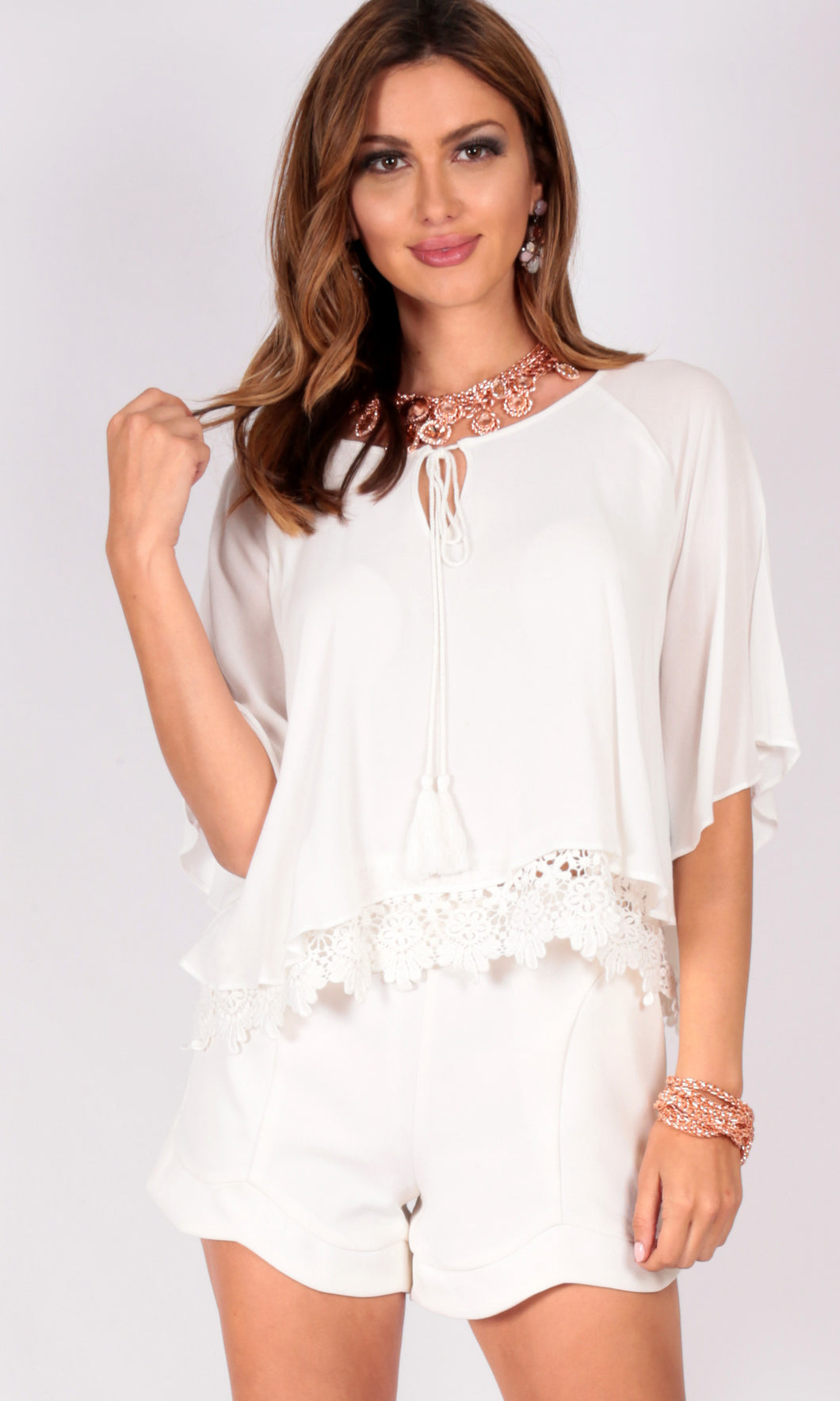 Bat Wing Shirt with Tassel Tie and Lace Detail