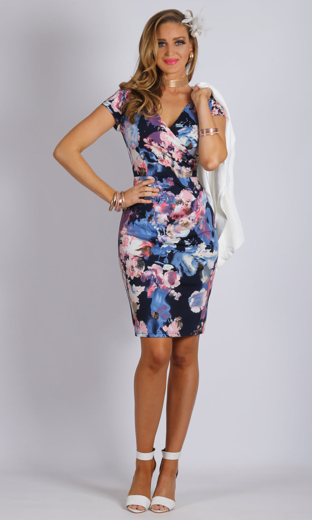 Wrap Front Floral Printed Dress
