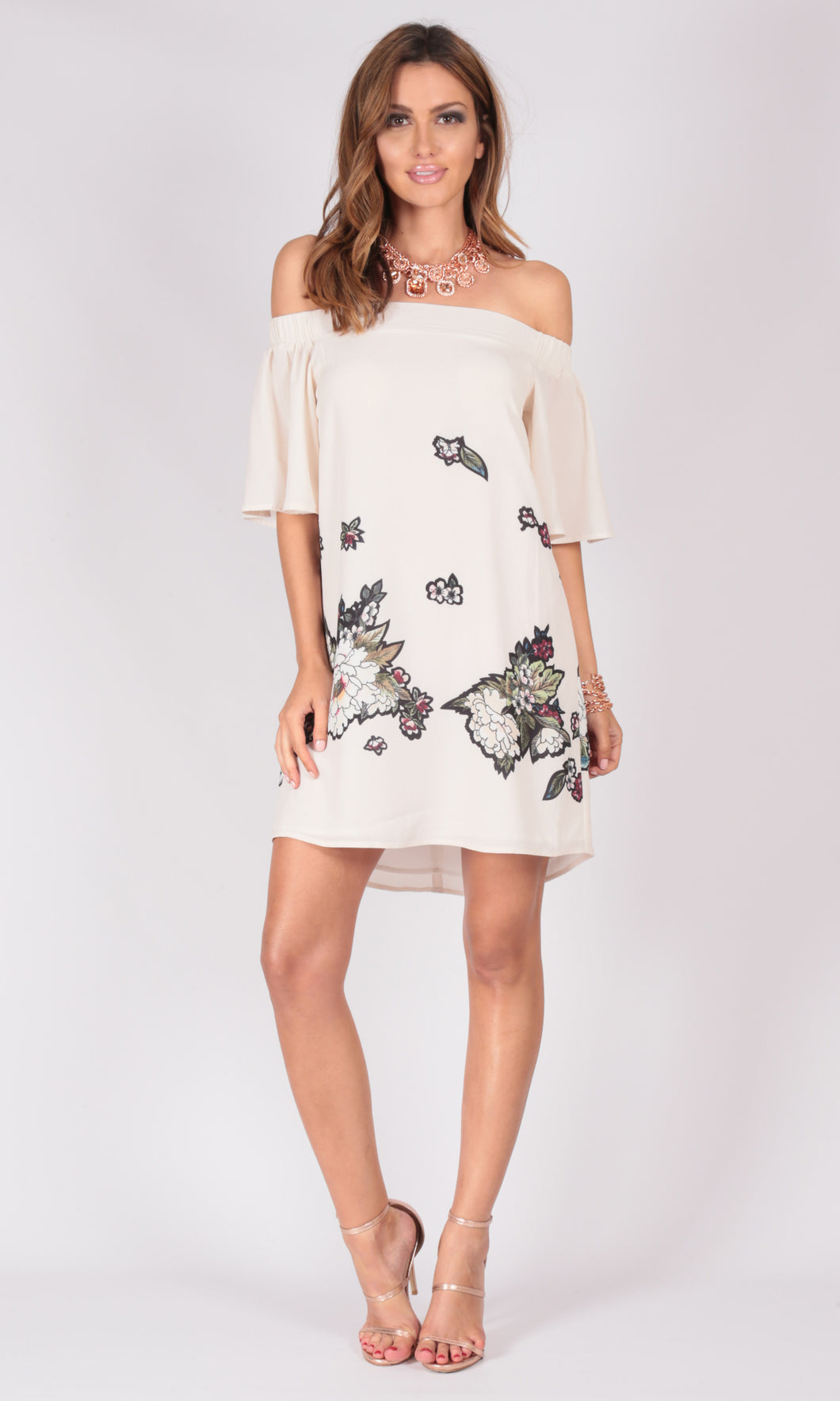 Off Shoulder Japanese Inspired Print Dress