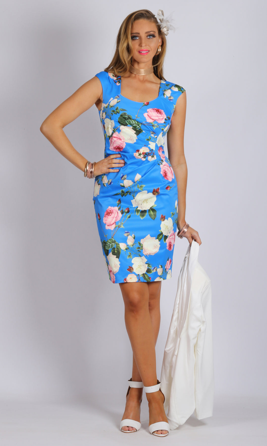 Matte Sateen Sweetheart Neck Floral Dress