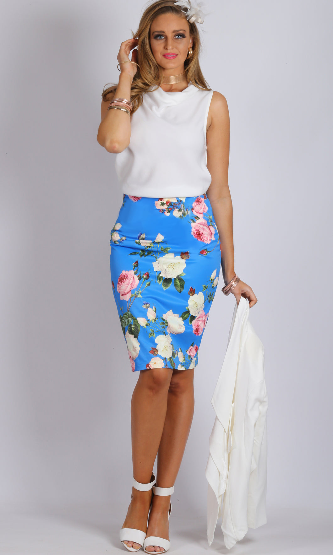BS1116032-5TB Rose Print Pencil Skirt (Pack)