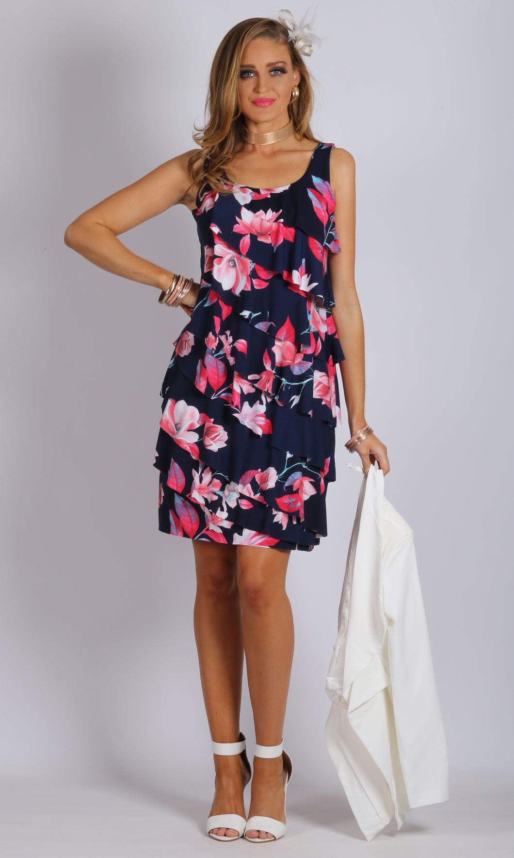 Layered Printed Floral Ruffle Dress