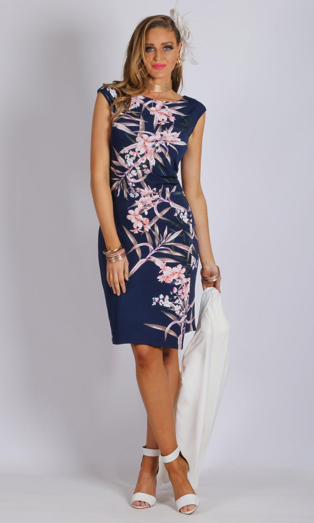 JS0024-33TB Navy Floral Tulip Dress (Pack)