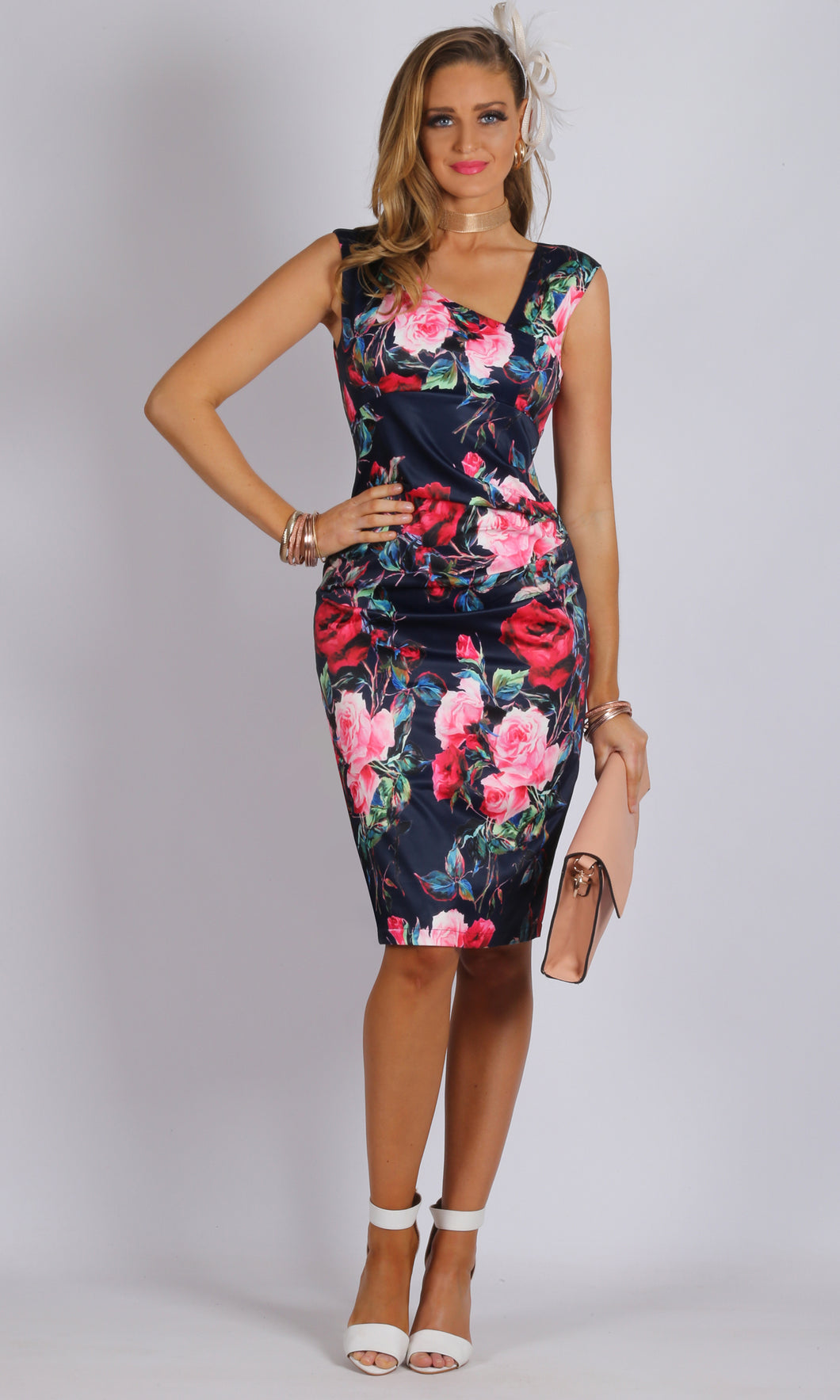 BS31665-55TB Sateen Fitted Floral Dress (Pack)