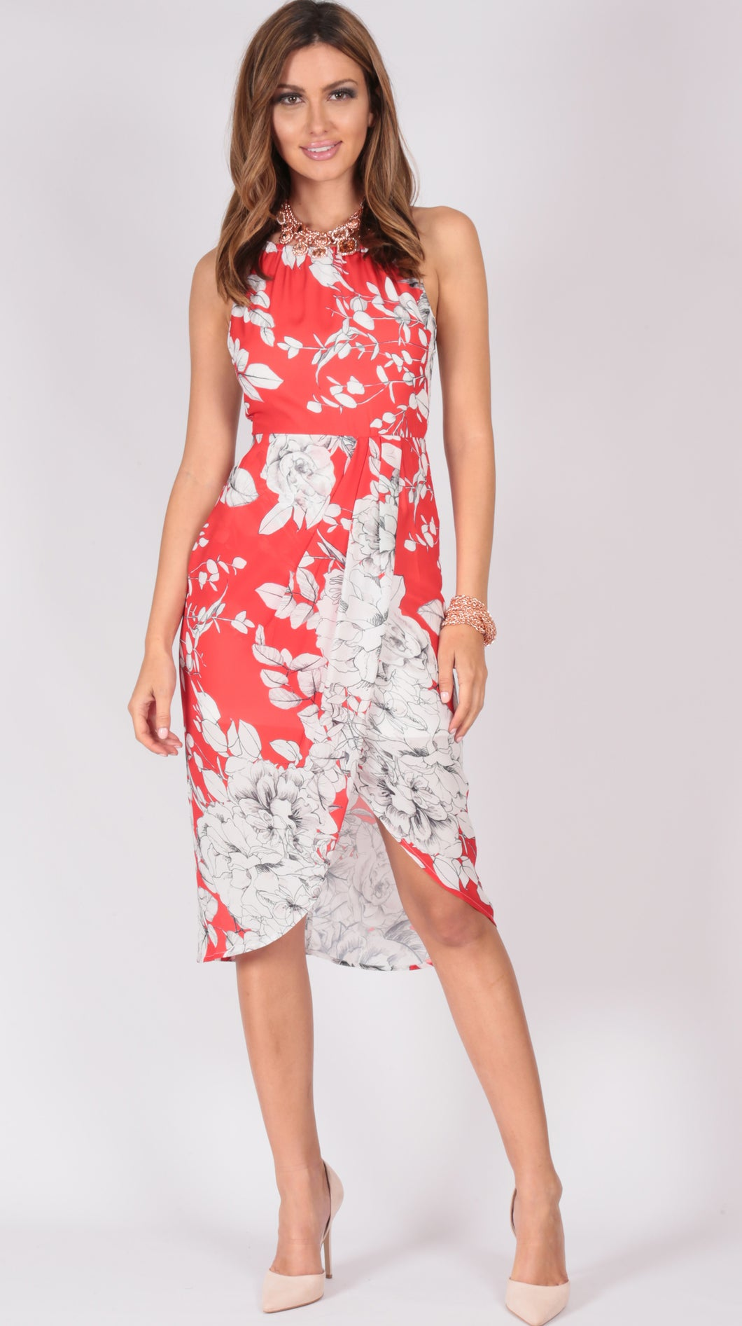 LV627-8SS Halter Red Print Dress (Pack)