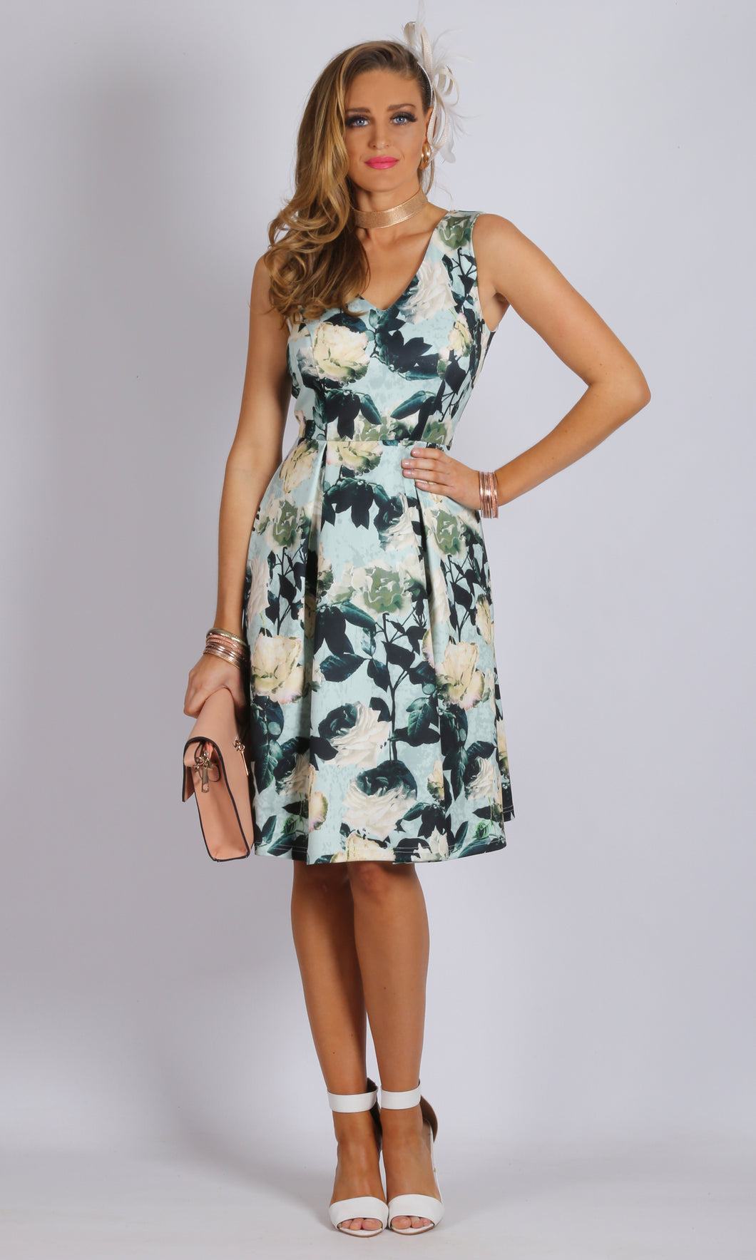 A Line Box Pleat Printed Dress